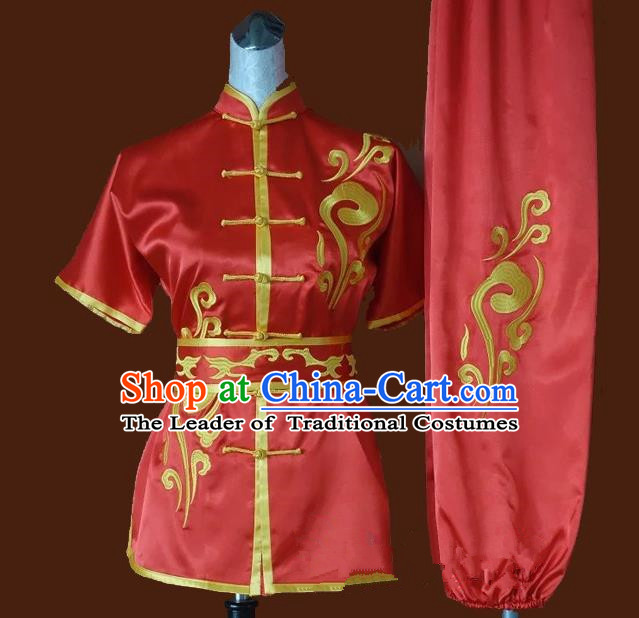 Top Grade Kung Fu Silk Costume Asian Chinese Martial Arts Tai Chi Training Red Uniform, China Embroidery Gongfu Shaolin Wushu Clothing for Women