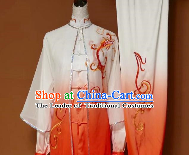 Top Grade Kung Fu Silk Costume Asian Chinese Martial Arts Tai Chi Training Orange Uniform, China Embroidery Dragon Gongfu Shaolin Wushu Clothing for Men