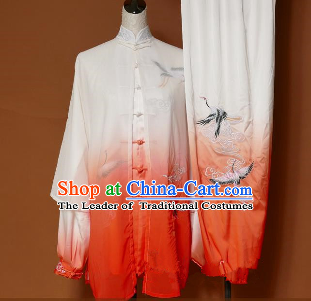 Top Grade Kung Fu Silk Costume Asian Chinese Martial Arts Tai Chi Training Orange Uniform, China Embroidery Crane Gongfu Shaolin Wushu Clothing for Men