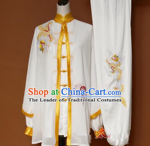 Top Grade Kung Fu Silk Costume Asian Chinese Martial Arts Tai Chi Training Uniform, China Embroidery Yellow Dragon Gongfu Shaolin Wushu Clothing for Men for Women