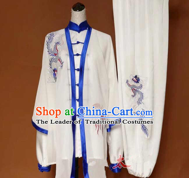 Top Grade Kung Fu Silk Costume Asian Chinese Martial Arts Tai Chi Training Uniform, China Embroidery Blue Dragon Gongfu Shaolin Wushu Clothing for Men for Women