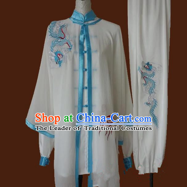 Top Grade Kung Fu Silk Costume Asian Chinese Martial Arts Tai Chi Training Uniform, China Embroidery Light Blue Dragon Gongfu Shaolin Wushu Clothing for Men for Women