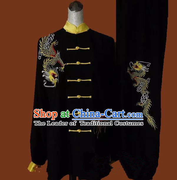 Top Grade Kung Fu Silk Costume Asian Chinese Martial Arts Tai Chi Training Black Uniform, China Embroidery Dragon Gongfu Shaolin Wushu Clothing for Men for Women
