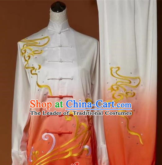 Top Grade Kung Fu Silk Costume Asian Chinese Martial Arts Tai Chi Training Orange Uniform, China Embroidery Gongfu Shaolin Wushu Clothing for Men