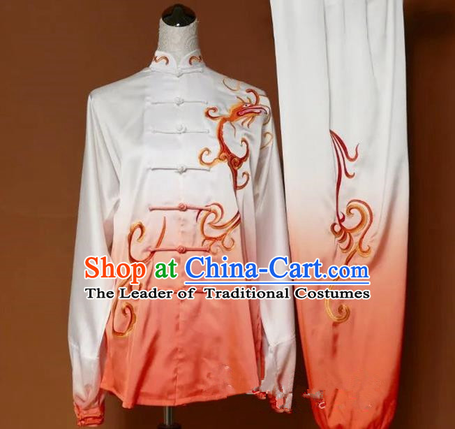 Top Grade Kung Fu Silk Costume Asian Chinese Martial Arts Tai Chi Training Orange Uniform, China Embroidery Gongfu Shaolin Wushu Clothing for Men for Women
