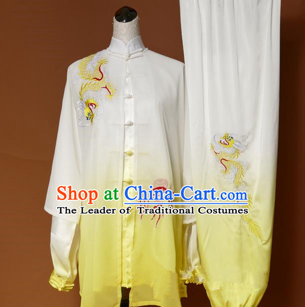 Top Grade Kung Fu Silk Costume Asian Chinese Martial Arts Tai Chi Training Gradient Yellow Uniform, China Embroidery Dragon Gongfu Shaolin Wushu Clothing for Women