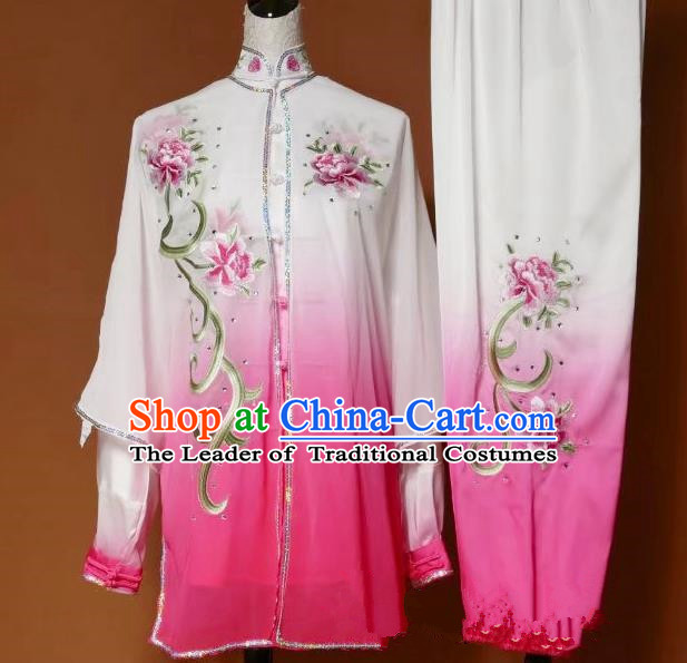 Top Grade Kung Fu Silk Costume Asian Chinese Martial Arts Tai Chi Training Pink Uniform, China Embroidery Peony Gongfu Shaolin Wushu Clothing for Women