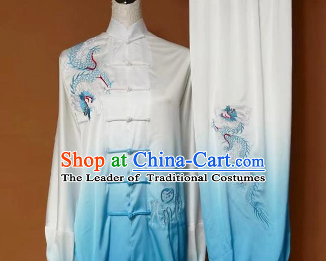Top Grade Kung Fu Silk Costume Asian Chinese Martial Arts Tai Chi Training Gradient Blue Uniform, China Embroidery Dragon Gongfu Shaolin Wushu Clothing for Women