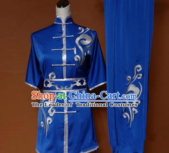 Top Grade Kung Fu Silk Costume Asian Chinese Martial Arts Tai Chi Training Blue Uniform, China Embroidery Short Sleeve Gongfu Shaolin Wushu Clothing for Women