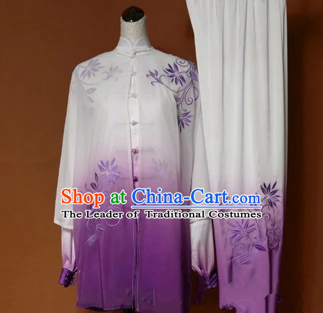 Top Grade Kung Fu Silk Costume Asian Chinese Martial Arts Tai Chi Training Gradient Purple Uniform, China Embroidery Leaf Gongfu Shaolin Wushu Clothing for Women