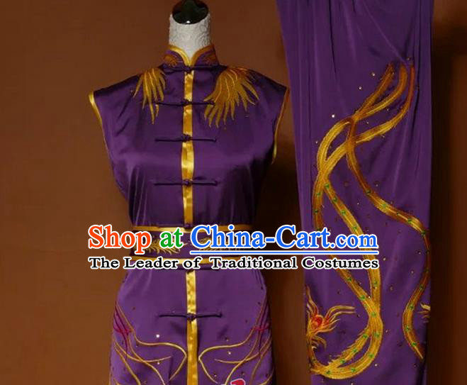 Top Grade Kung Fu Silk Costume Asian Chinese Martial Arts Tai Chi Training Gradient Purple Uniform, China Embroidery Phoenix Gongfu Shaolin Wushu Clothing for Women