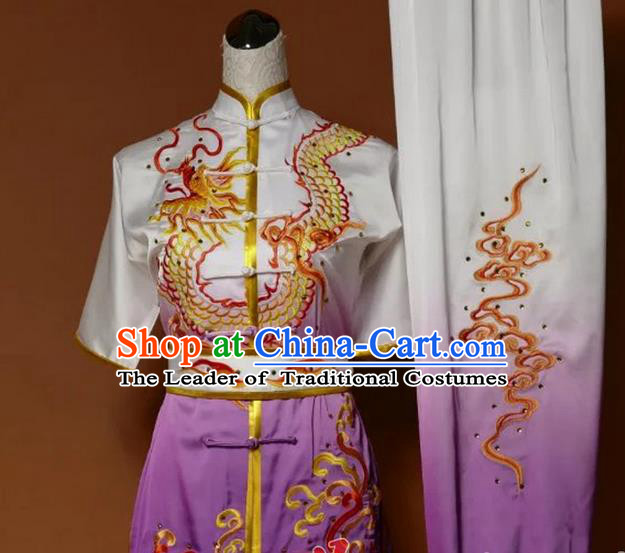 Top Grade Kung Fu Silk Costume Asian Chinese Martial Arts Tai Chi Training Gradient Purple Uniform, China Embroidery Dragon Gongfu Shaolin Wushu Clothing for Men