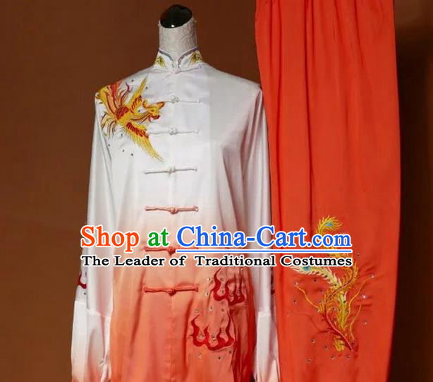 Top Grade Kung Fu Silk Costume Asian Chinese Martial Arts Tai Chi Training Gradient Orange Uniform, China Embroidery Phoenix Gongfu Shaolin Wushu Clothing for Women