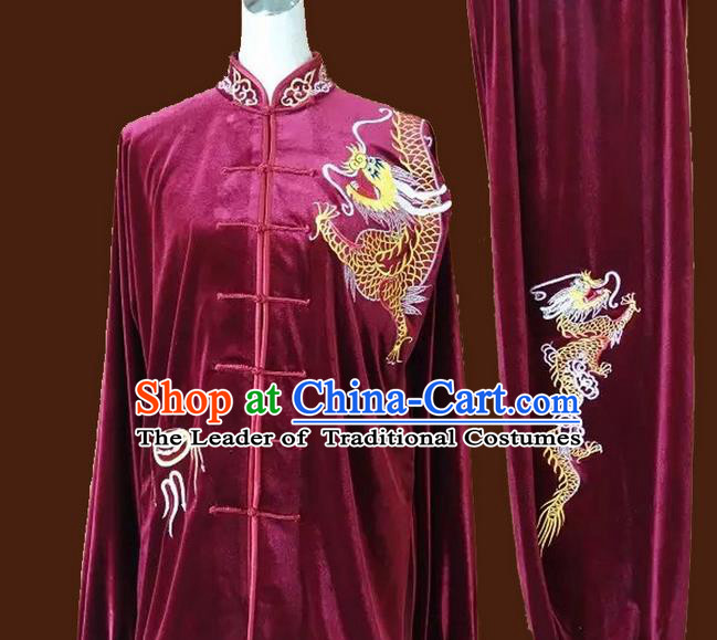 Top Grade Kung Fu Velvet Costume Asian Chinese Martial Arts Tai Chi Training Wine Red Uniform, China Embroidery Dragon Gongfu Shaolin Wushu Clothing for Women