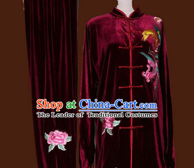 Top Grade Kung Fu Velvet Costume Asian Chinese Martial Arts Tai Chi Training Wine Red Uniform, China Embroidery Phoenix Peony Gongfu Shaolin Wushu Clothing for Women