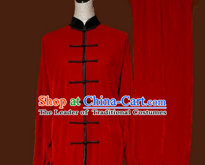 Top Grade Kung Fu Velvet Costume Asian Chinese Martial Arts Tai Chi Training Red Uniform, China Plated Buttons Gongfu Shaolin Wushu Clothing for Women