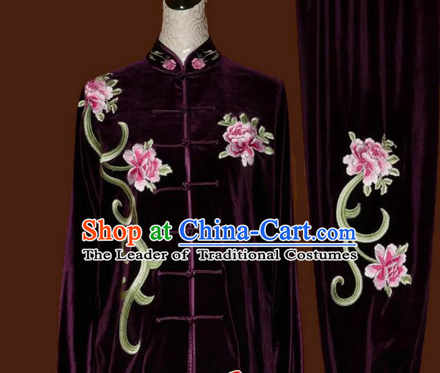 Top Grade Kung Fu Velvet Costume Asian Chinese Martial Arts Tai Chi Training Purple Uniform, China Embroidery Peony Gongfu Shaolin Wushu Clothing for Women