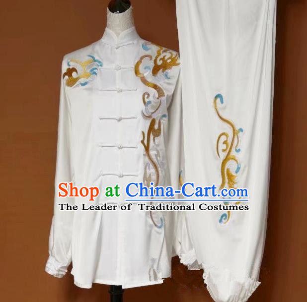 Top Grade Kung Fu Silk Costume Asian Chinese Martial Arts Tai Chi Training White Uniform, China Embroidery Gongfu Shaolin Wushu Clothing for Men
