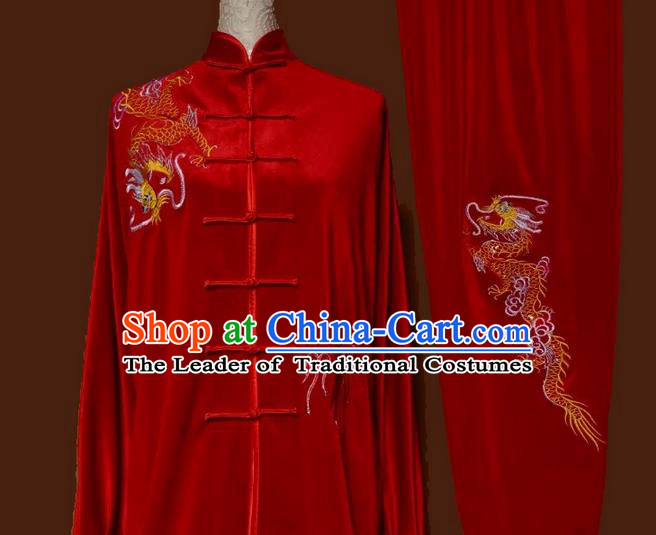 Asian Chinese Top Grade Velvet Kung Fu Costume Martial Arts Tai Chi Training Red Uniform, China Embroidery Dragon Gongfu Shaolin Wushu Clothing for Women