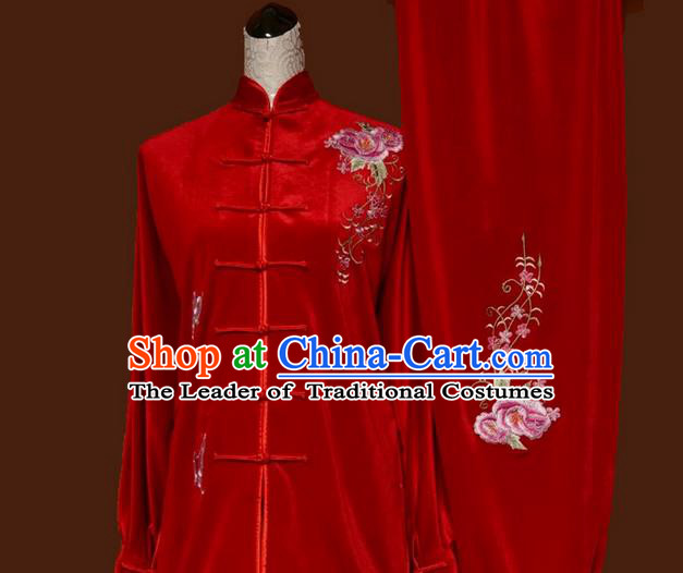 Asian Chinese Top Grade Velvet Kung Fu Costume Martial Arts Tai Chi Training Red Uniform, China Embroidery Butterfly Flowers Gongfu Shaolin Wushu Clothing for Women
