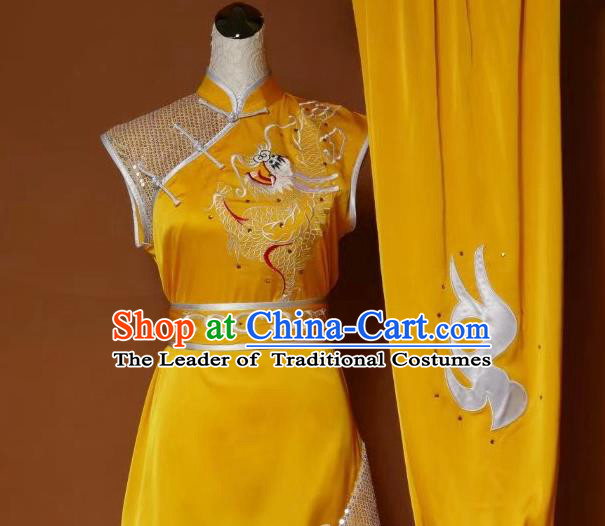 Top Grade Kung Fu Silk Costume Asian Chinese Martial Arts Tai Chi Training Yellow Uniform, China Embroidery Dragon Gongfu Shaolin Wushu Clothing for Men for Women
