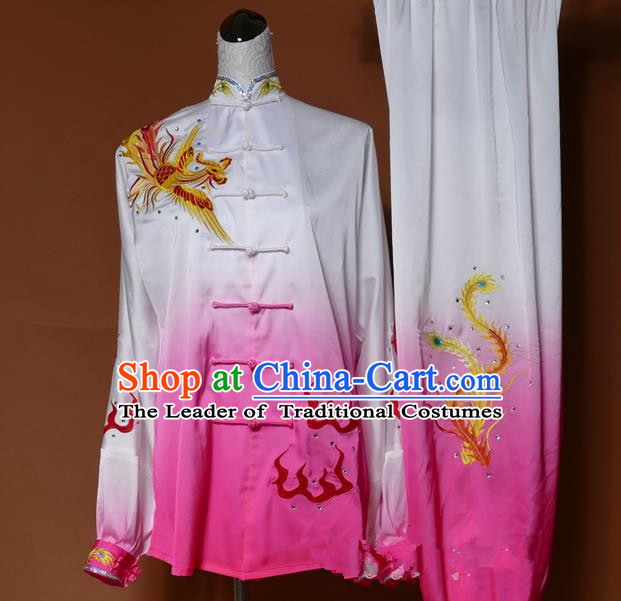 Top Grade Kung Fu Silk Costume Asian Chinese Martial Arts Tai Chi Training Pink Uniform, China Embroidery Phoenix Gongfu Shaolin Wushu Clothing for Women