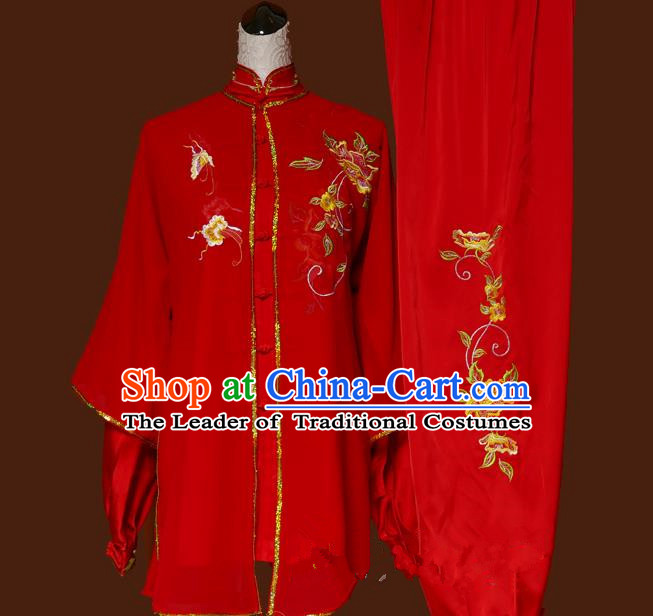Top Grade Kung Fu Silk Costume Asian Chinese Martial Arts Tai Chi Training Red Uniform, China Embroidery Peony Gongfu Shaolin Wushu Clothing for Women