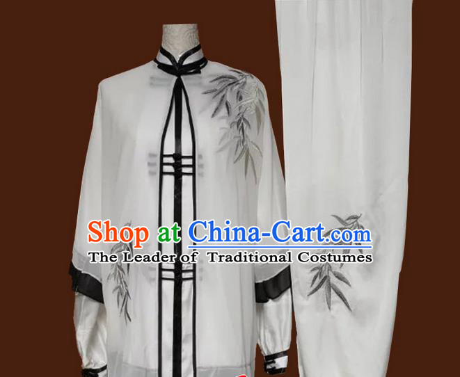 Asian Chinese Top Grade Silk Kung Fu Costume Martial Arts Tai Chi Training White Uniform, China Embroidery Bamboo Gongfu Shaolin Wushu Clothing for Women
