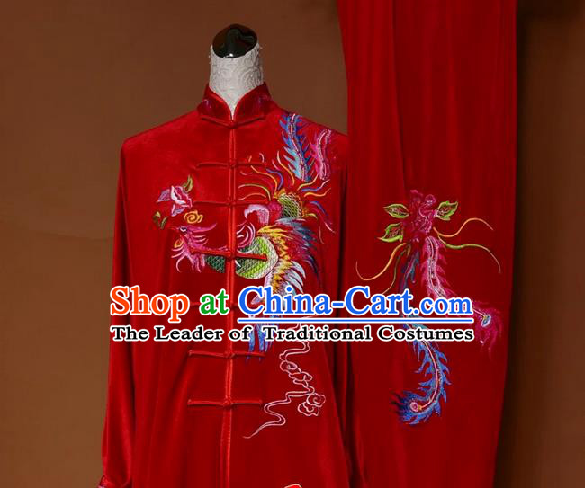 Asian Chinese Top Grade Pleuche Kung Fu Costume Martial Arts Tai Chi Training Red Uniform, China Embroidery Phoenix Gongfu Shaolin Wushu Clothing for Women