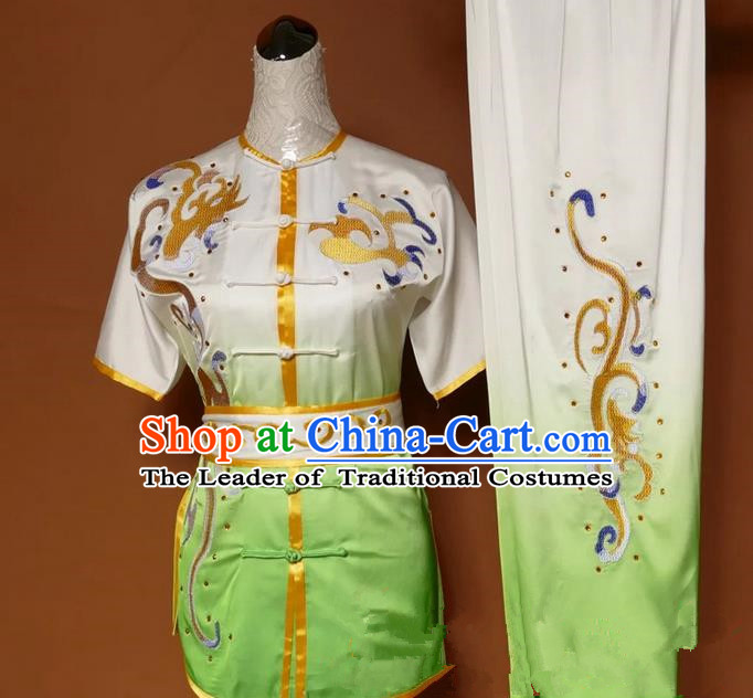 Asian Chinese Top Grade Silk Kung Fu Costume Martial Arts Tai Chi Training Gradient Green Uniform, China Embroidery Gongfu Shaolin Wushu Clothing for Women