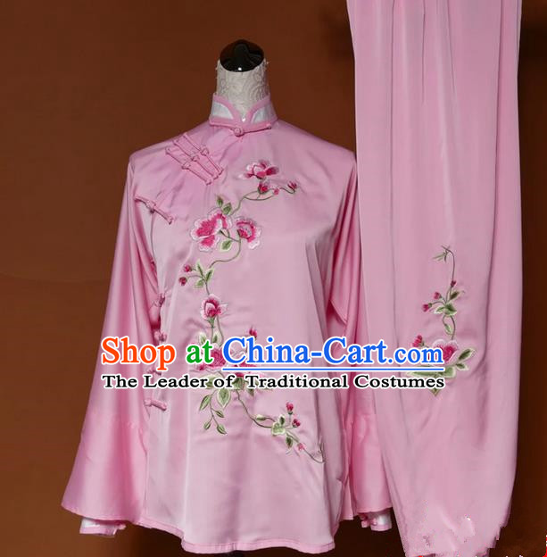 Asian Chinese Top Grade Silk Kung Fu Costume Martial Arts Tai Chi Training Pink Slant Opening Uniform, China Embroidery Peony Gongfu Shaolin Wushu Clothing for Women