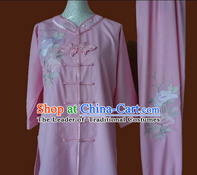 Asian Chinese Top Grade Silk Kung Fu Costume Martial Arts Tai Chi Training Pink Plated Buttons Uniform, China Embroidery Peony Gongfu Shaolin Wushu Clothing for Women