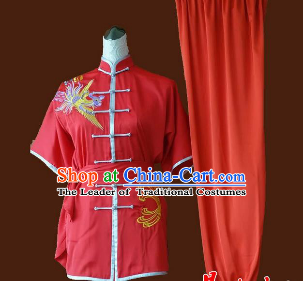 Asian Chinese Top Grade Silk Kung Fu Costume Martial Arts Tai Chi Training Red Suit, China Embroidery Phoenix Gongfu Shaolin Wushu Uniform for Women