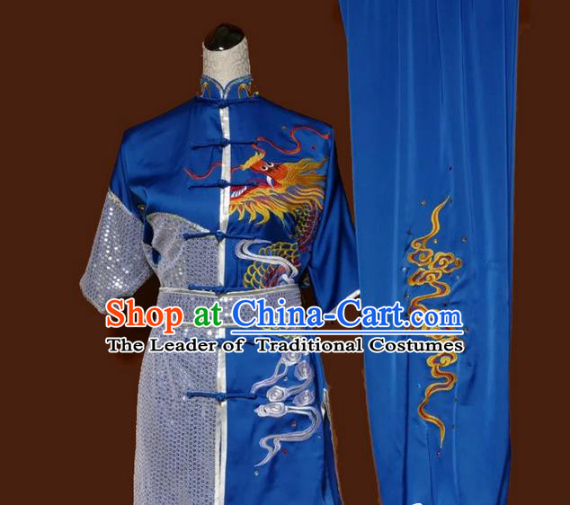 Asian Chinese Top Grade Silk Kung Fu Costume Martial Arts Tai Chi Training Blue Suit, China Embroidery Dragon Gongfu Shaolin Wushu Uniform for Men