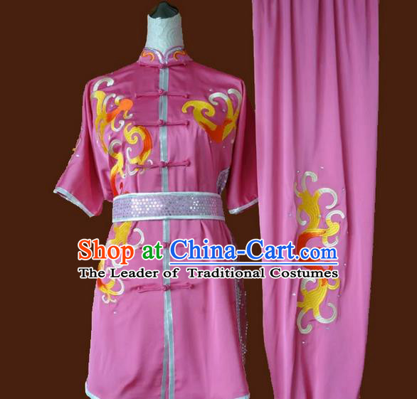 Asian Chinese Top Grade Silk Kung Fu Costume Martial Arts Tai Chi Training Pink Suit, China Embroidery Gongfu Shaolin Wushu Uniform for Women