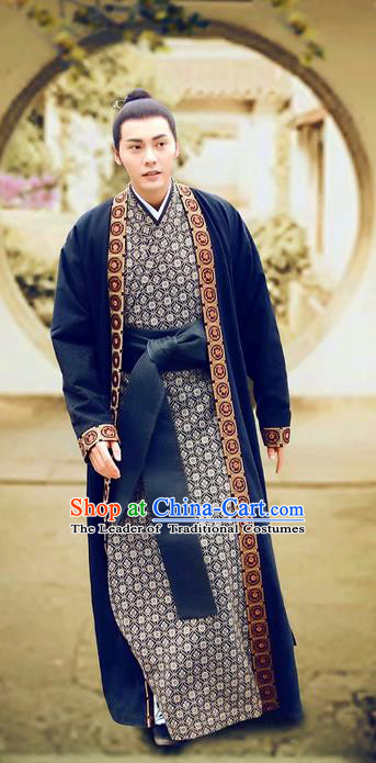 Asian Chinese Traditional Ancient Imperial Childe Costume and Headpiece Complete Set, Lost Love In Times China Northern and Southern Dynasties Prince Clothing for Men