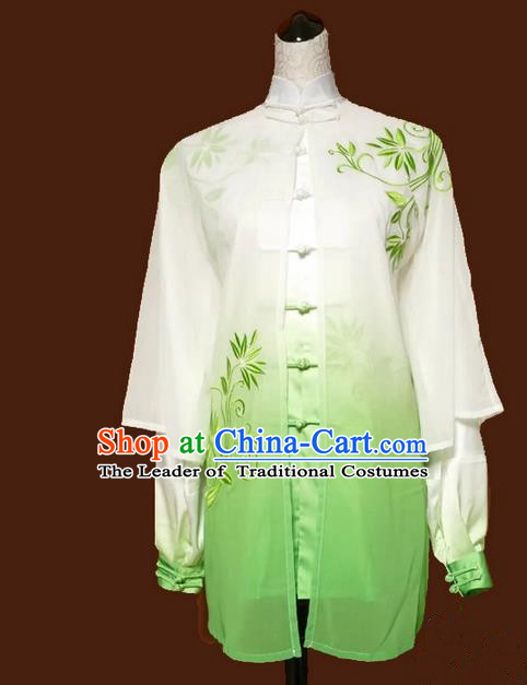 Asian Chinese Top Grade Linen Kung Fu Costume Martial Arts Tai Chi Training Suit, China Gongfu Shaolin Wushu Embroidery Bamboo Leaves Gradient Green Uniform for Women