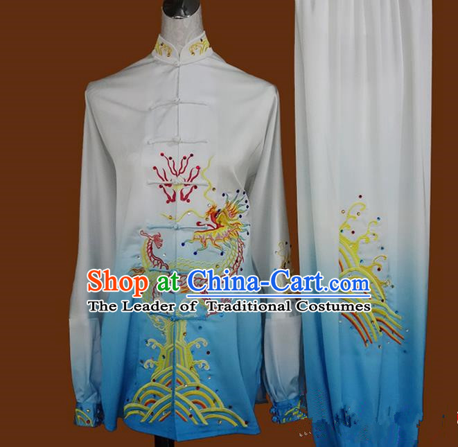 Asian Chinese Top Grade Silk Kung Fu Costume Martial Arts Tai Chi Training Suit, China Gongfu Shaolin Wushu Embroidery Dragon Long Sleeve Blue Uniform for Women
