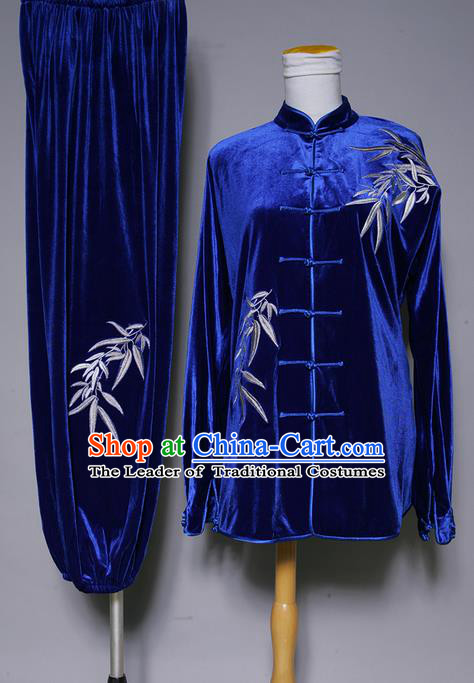 Asian Chinese Top Grade Velvet Kung Fu Costume Martial Arts Tai Chi Training Suit, China Gongfu Shaolin Wushu Embroidery Bamboo leaves Blue Uniform for Women