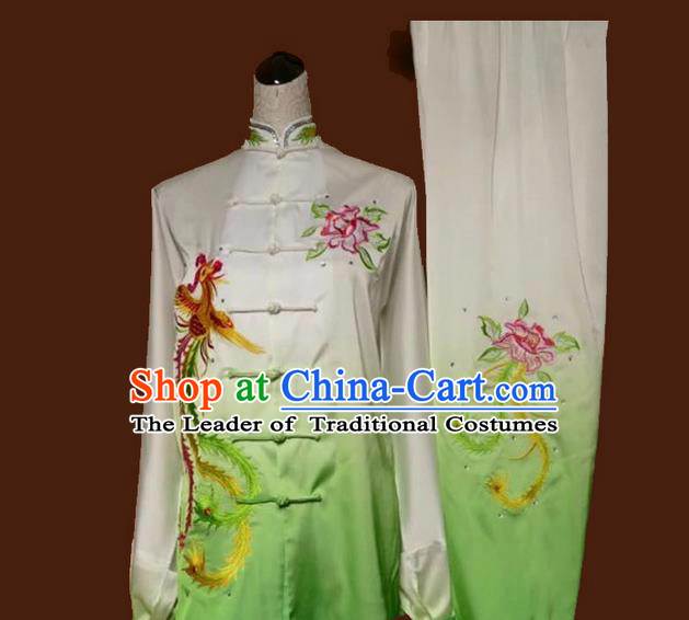 Asian Chinese Top Grade Linen Kung Fu Costume Martial Arts Tai Chi Training Suit, China Gongfu Shaolin Wushu Embroidery Phoenix Peony Gradient Green Uniform for Women