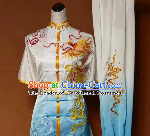 Asian Chinese Top Grade Silk Kung Fu Costume Martial Arts Tai Chi Training Suit, China Gongfu Shaolin Wushu Embroidery Dragon Gradient Blue Uniform for Men