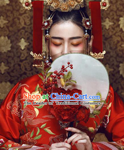 Traditional Chinese Crafts Round Fan China Wedding Fan Imperial Consort Bride Flowers Fans for Women