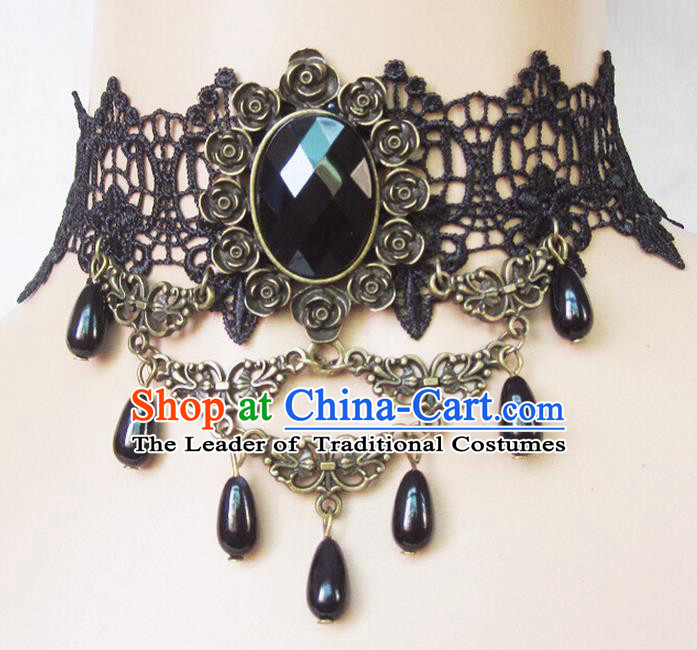 Traditional Chinese Accessories Black Lace Necklace for Women