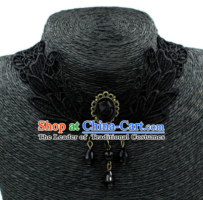 Traditional Chinese Accessories Black Lace Tassel Necklace for Women