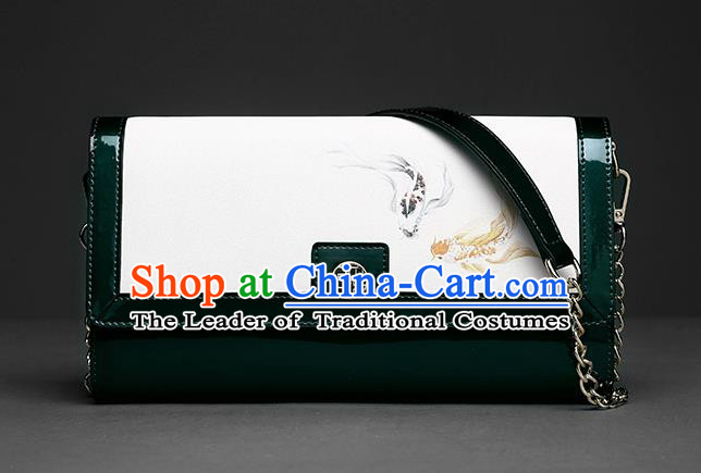Traditional Handmade Asian Chinese Element Clutch Bags Folding Wallet National Printing Fish Deep Green Chain Handbag for Women