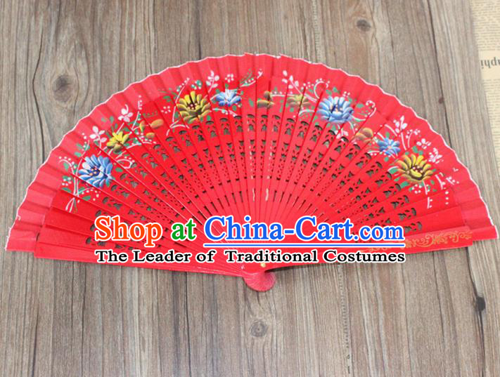 Traditional Chinese Crafts Beauty Folding Fan China Palace Red Fan Imperial Consort Wood Bride Fans for Women