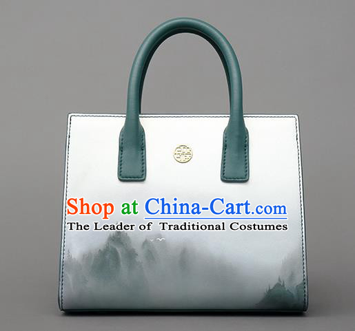 Traditional Handmade Asian Chinese Element Clutch Bags Shoulder Bag National Landscape Painting Handbag for Women