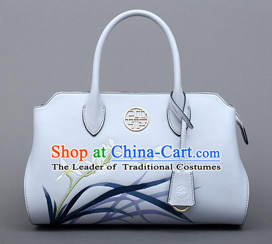 Traditional Handmade Asian Chinese Element Clutch Bags Shoulder Bag National Embroidered Orchids Handbag for Women