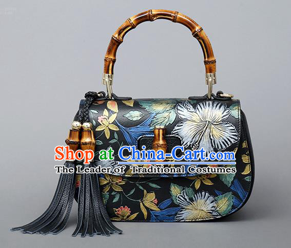 Traditional Handmade Asian Chinese Element Clutch Bags Shoulder Bag Haversack National Black Knurling Handbag for Women