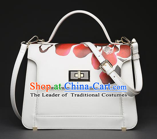 Traditional Handmade Asian Chinese Element Clutch Bags Shoulder Bag Haversack National Printing Flowers Handbag for Women